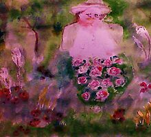 In her garden #2, watercolor by Anna  Lewis