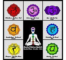 Yoga Reiki Seven Chakras Symbols chart Photographic Print