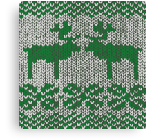 Christmas Jumper Green on White Canvas Print