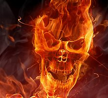 Flaming Skull by pjwuebker