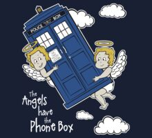 The Angels have the Phone Box - Version 4 (for dark tees / white outlines)  Kids Clothes