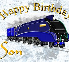 Mallard Steam Locomotive - Happy Birthday Son by Dennis Melling