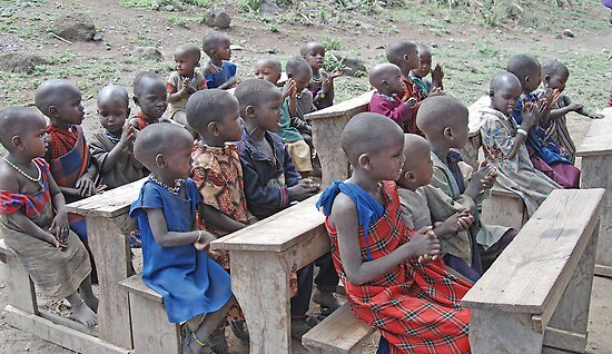 Schooling Maasai Style, Tanzania, Africa by Adrian Paul