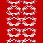 Red bird pattern by Csöpi's Art