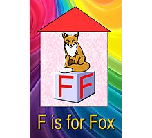 F is for Fox Play Brick Photographic Print