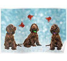 3 Puppies & The Butterflies Poster