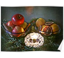 Christmas:a candle, fir branches spices and fruits Poster