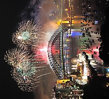 Fire In The Sky , Sydney ,new,years,eve,fireworks by Philip Johnson