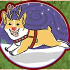 Rudolph the Red Nosed Corgi - Card by Monica Diaz