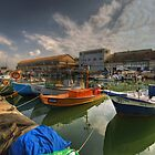 resting boats at the Jaffa port by Ronsho