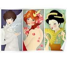 Three Lovely Ladies: Portrait Triptych Poster