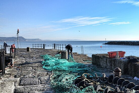 Mending The Nets At Lyme by lynn carter