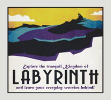 Explore the tranquil Kingdom of Labyrinth - retro travel poster by QueenHare