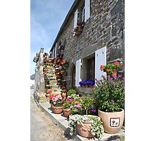 Pretty seaside cottage with flower pots, Brittany, France Photographic Print