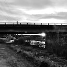 B&W Sunset Under a Bridge by Jake Kauffman