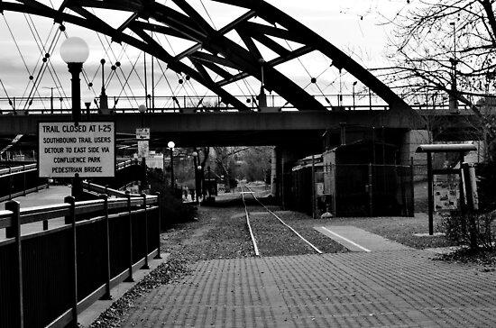 B&W Bridge and Train by Jake Kauffman
