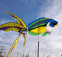 Colourful fish windmill, Brest Maritime Festival 2008 , Brittany, France by silverportpics