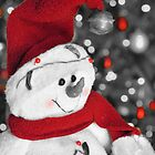 Frosty Christmas Red B&W by Dawne Dunton