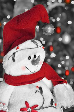 Frosty Christmas Red B&amp;W by Dawne Dunton