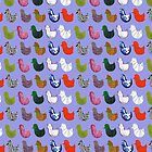 Patterned Birds (blue) by LydiaWoods