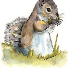 Squirrel Tasting a Flower by Lynn Oliver