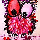 Hot pink baby owl girl by sweetjay-o
