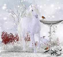 Winter Unicorn, Rabbit and Robin iPhone case by Moonlake