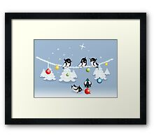 Funny Xmas Card - Birds and Bubbles in Snow Framed Print