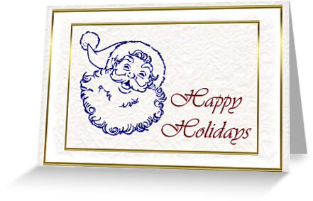 Happy holidays Christmas card with Santa by Cheryl Hall