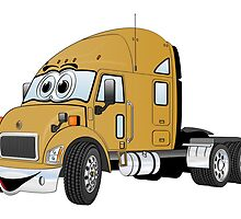 Semi Truck Cab Gold by Graphxpro