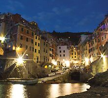 'Night Lights' - Riomaggiore, Cinque Terre, Italy by Martin Stringer