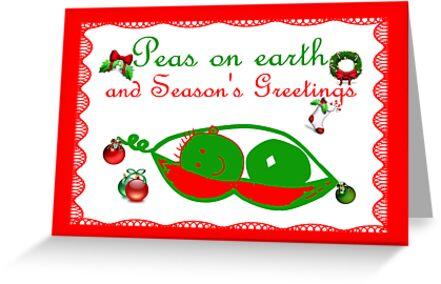 Peas on earth Christmas card Season's Greetings by Cheryl Hall
