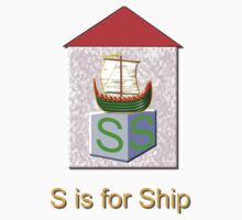 S is for Ship Play Brick T-shirt by Dennis Melling