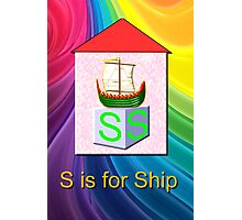 S is for Ship Play Brick Photographic Print