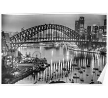 Black and White Fantasia - Sydney Habour, Sydney Australia - The HDR Experience Poster