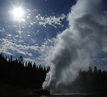 Powerful geyser, Yellowstone by Claudio Del Luongo