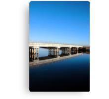 cashen road bridge over cold river reflected Canvas Print