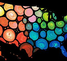 United States of America Map 2 - Colorful USA by Sharon Cummings