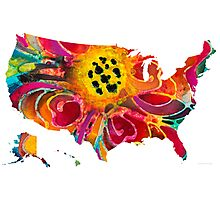 United States of America Map 3 - Colorful USA Photographic Print