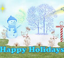 Holiday greetings Christmas card Happy holidays with snowman by Cheryl Hall