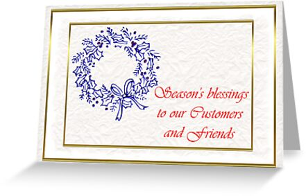 Christmas card for customers from business - Christmas wreath by Cheryl Hall