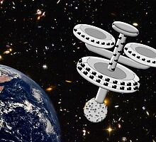 Space Station Around the Earth by Dennis Melling