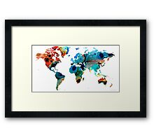 Map of The World 6 -Colorful Abstract Art Framed Print