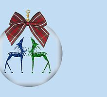 Merry Christmas happy holidays card with reindeer in bauble by Cheryl Hall