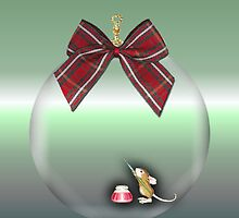 Merry Christmas happy holidays card with christmas mouse inside bauble by Cheryl Hall