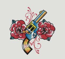 Gun and Roses Tattoo Flash by MissCarissaRose