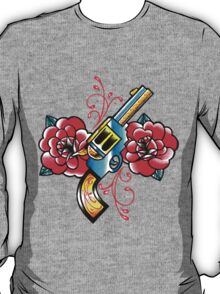 Gun and Roses Tattoo Flash T-Shirt