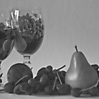 Still Life Wine and Fruit in B &amp; W by Sherry Hallemeier