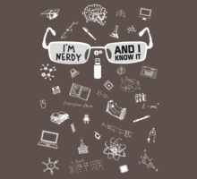 Nerdy and I Know It - V1 Dark Colors Kids Clothes