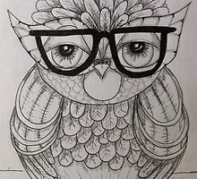 Mondayitis Owl Drawing  by Krissy  Christie